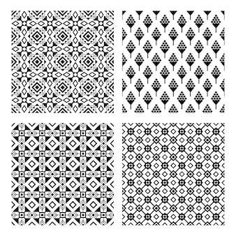 Tribal naadloze zwarte patroon set