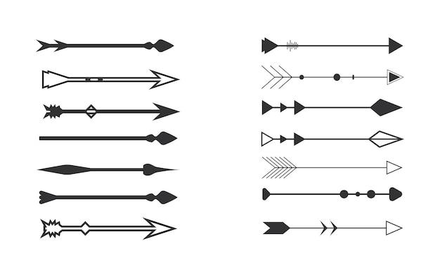 Tribal pijlen op een witte achtergrond azteekse boho-elementen retro arrowvector illustratie set