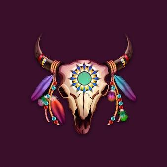 Tribal schedel koe met veren op hoorns