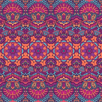 Tribal vintage abstract bloemen geometrisch etnisch naadloos patroon sier