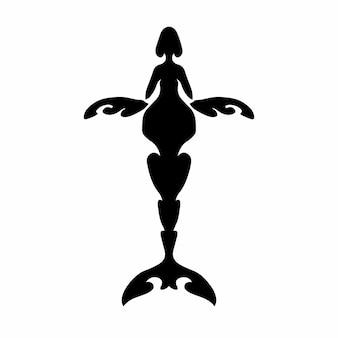 Tribal walvis logo tattoo design stencil vectorillustratie