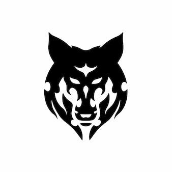 Tribal wolf hoofd logo tattoo design stencil vectorillustratie