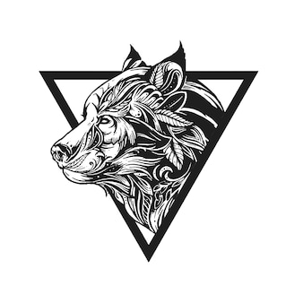 Tribal wolf tattoo ontwerp ornament illustratie vector