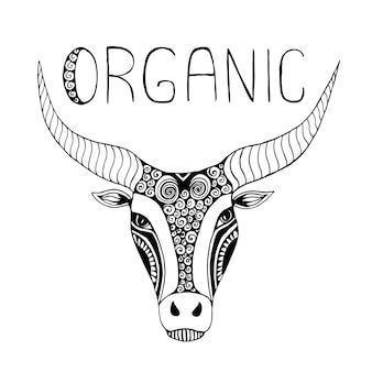 Tribal zentangle bull. geïsoleerd dier. print of logo ontwerp hand getrokken vector