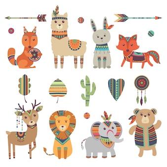 Tribale dieren. leuke dierentuin eekhoorn lama haas vos herten leeuw olifant en beer met vintage veren vector tekens