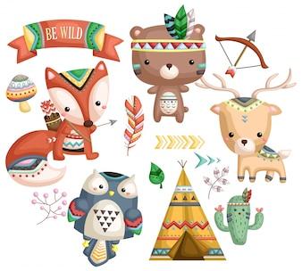 Tribale dieren vector set