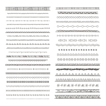 Tribale randen illustraties in boho-stijl. collectie isoleren. hand getrokken afbeeldingen monochroom grens etnische tribale ornament patroon