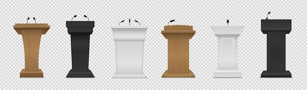 Tribune ingesteld. realistisch ander kleurenpodium met microfoons vooraanzicht, voetstuk voor lezing, prijsuitreiking, persinterview en politiek debat 3d leeg platform voor sprekers vector geïsoleerde reeks