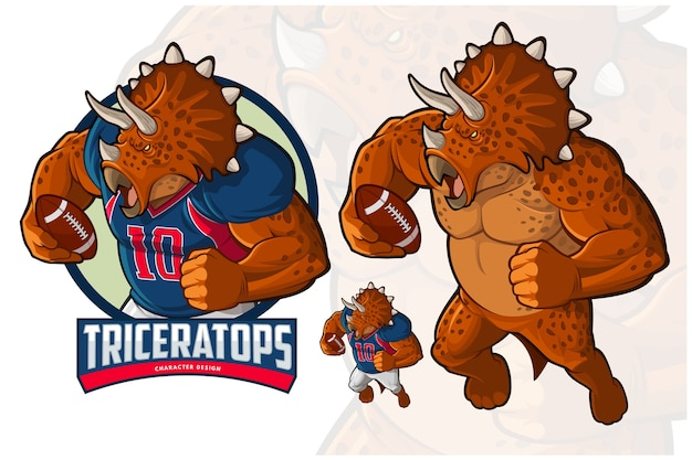 Triceratops character design voor american footbal en rugby