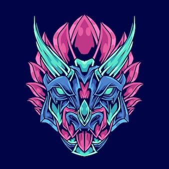 Triceratops hoofd abstracte ornament illustratie