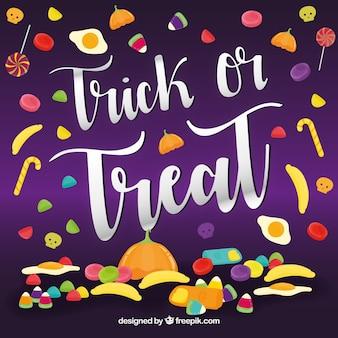 Trick of treat achtergrond met snoepjes