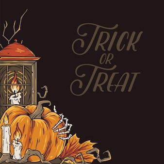 Trick or treat-achtergrond voor halloween-feest