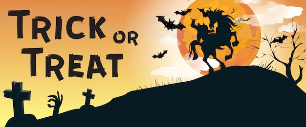 Trick or treat-belettering met headless horseman en kerkhof