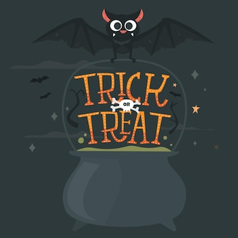 Trick or treat belettering met ketel