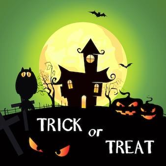 Trick or treat belettering met maan, pompoenen en kasteel