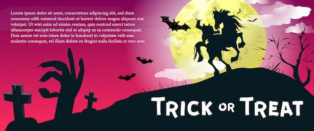 Trick or treat-belettering met onthoofde ruiter en maan