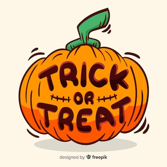 Trick or treat belettering met pompoen