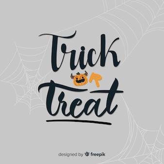 Trick or treat belettering met spinnenweb