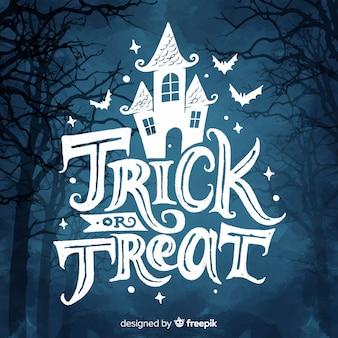 Trick or treat belettering met spookhuis