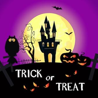 Trick or treat-belettering met volle maan, kasteel en pompoenen