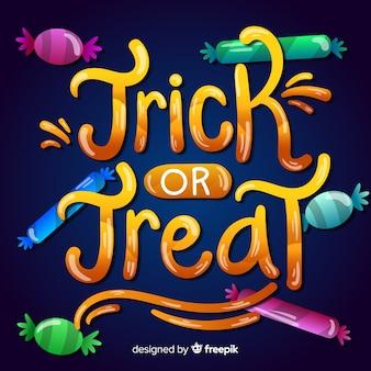 Trick or treat-belettering met zwarte vleermuis