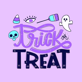 Trick or treat belettering ontwerp