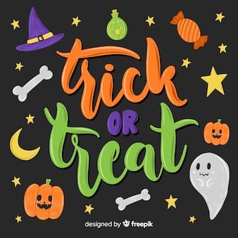 Trick or treat belettering op zwarte achtergrond