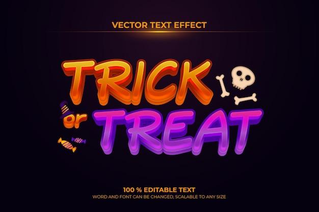 Trick or treat bewerkbaar 3d-teksteffect met halloween-achtergrondstijl