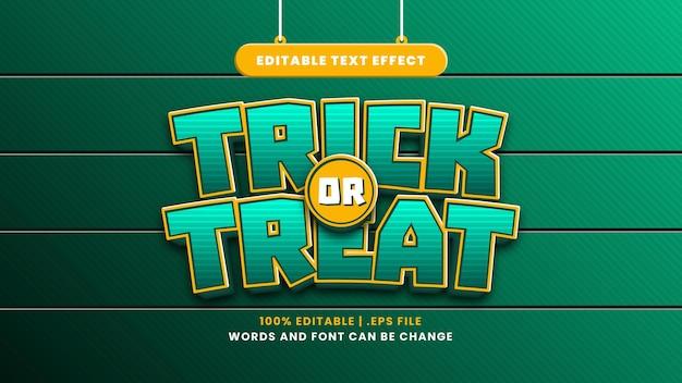 Trick or treat bewerkbaar teksteffect in moderne 3d-stijl
