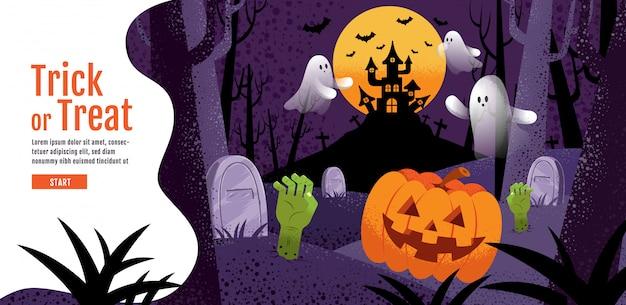 Trick or treat enge achtergrond met pompoen, spook, kasteel, maan