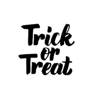 Trick or treat geïsoleerde belettering. vectorillustratie van handgeschreven kalligrafie.