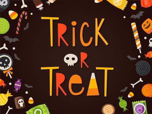 Trick or treat geschreven in cartooneske karakters omlijst door snoepjes. halloween vector kaart.