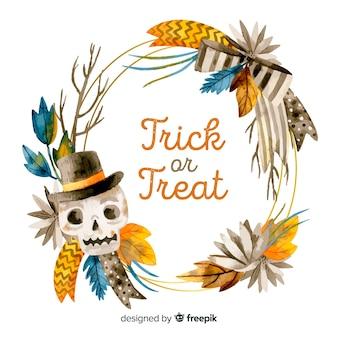 Trick or treat halloween aquarel frame