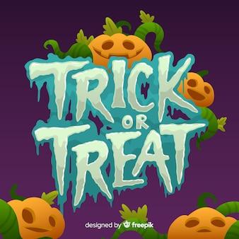 Trick or treat halloween belettering pompoen en stoom