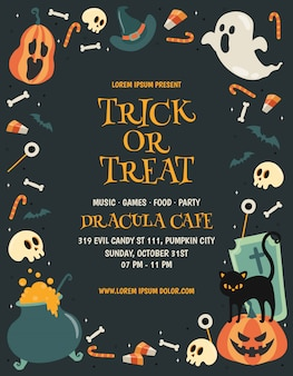 Trick or treat halloween-feest poster sjabloon
