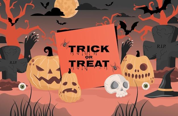 Trick or treat halloween-feestposterontwerp grafstenen heksenhoeden Premium Vector