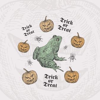 Trick or treat halloween-kaartsjabloon met pad of kikker, pompoenen en spinnen