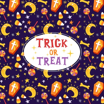 Trick or treat halloween-wenskaart