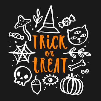 Trick or treat handgetekende letters. vectorkrabbelillustratie.