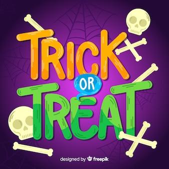Trick or treat kalligrafie met schedel en botten
