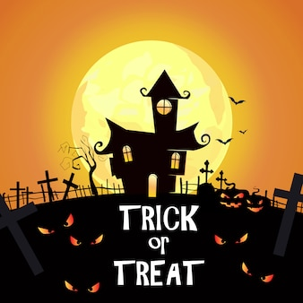 Trick or treat-letters met begraafplaats, kastelen en spookachtige ogen