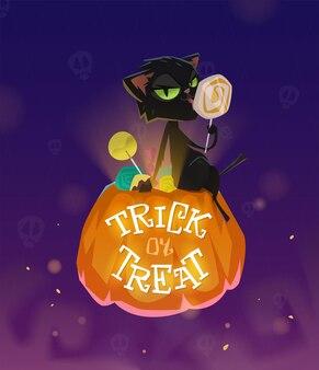 Trick or treat met zwarte kat en pompoen