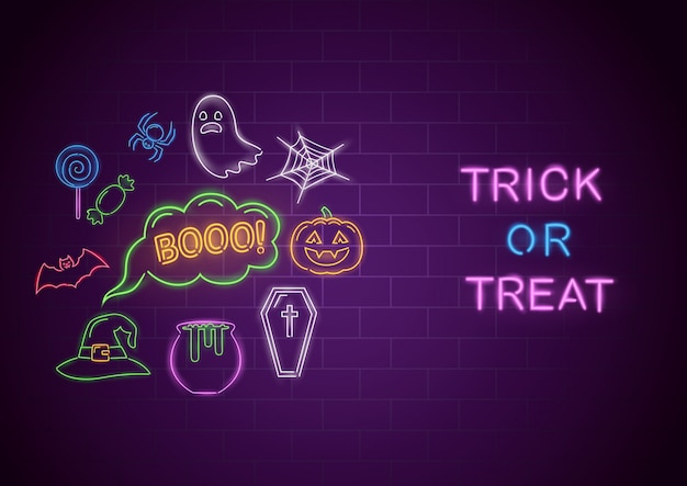 Trick or treat neon banner