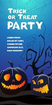 Trick or treat party-belettering. jack o-lantaarns, boom en spinnenweb