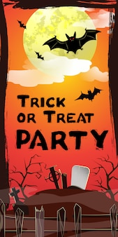 Trick or treat party-belettering. vleermuizen vliegen over begraafplaats