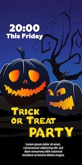 Trick or treat party deze vrijdag-tekst. pompoenen, spinneweb, boom