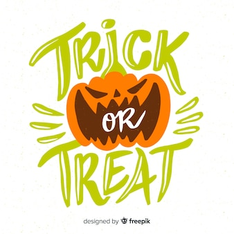 Trick or treat pompoen belettering