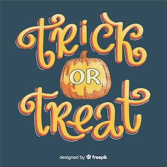 Trick or treat pompoen belettering