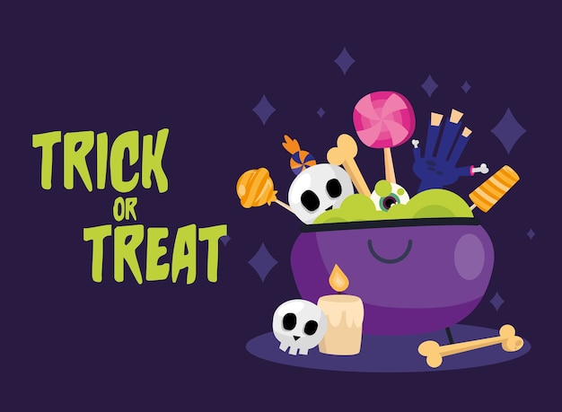 Trick or treat snoepjes in het ontwerp van de heksenkom, enge halloween-thema