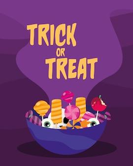 Trick or treat-snoepjes in komontwerp, enge halloween-thema